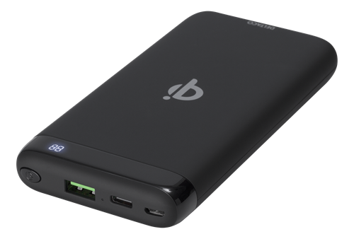 DELTACO barošanas bloks 10 000 mAh, Qi 10 W, USB-C PD, Quick Charge 3.0
