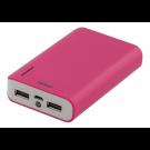 Ārējā baterija  DELTACO 6000mAh, 2A, 2xUSB, 5V, rozā / PB-813