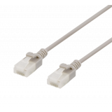 DELTACO U/UTP Cat6a patch cable, slim, 1m, 500MHz, gray / UUTP-1020
