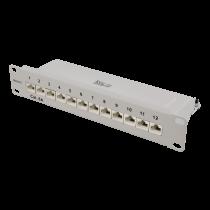 """DELTACO 10 """"ielāpu panelis, 12xRJ45, Cat6a, STP, 10Gbps, metāls, pelēks"""