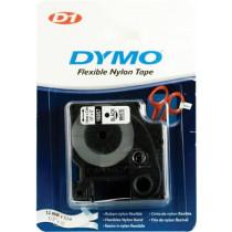 DYMO D1 marķēšanas lente flex nylon 12mm, melna uz balta, 3,5 m roll