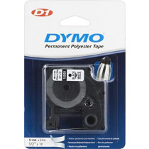 DYMO D1 marķējuma lentes permols poliesters 12mm, melns uz balta, 5,5 m veltnis