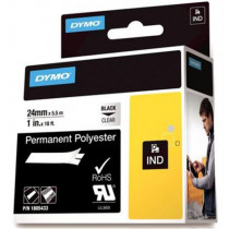 DYMO Rhino Professional, noticeable permanent polyester tape, 24mm, black text on transparent tape, 5.5m 1805433