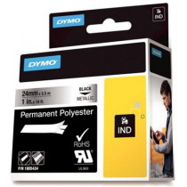 DYMO Rhino Professional, noticeable permanent polyester tape, 24mm, black text on metallic tape, 5.5m 1805434