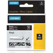 Tape DYMO Rhino 9mm x 5.5m, vinyl, white on black / 1805437
