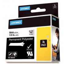 DYMO Rhino Professional, noticeable permanent polyester tape, 6mm, black text on transparent tape, 5.5m 1805440