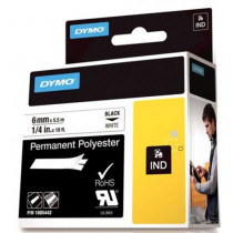 DYMO Rhino Professional, noticeable permanent polyester tape, 6mm, black text on white tape, 5.5m 1805442