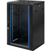 "TOTEN, 19 ""wall cabinet, 18U, 600x450, glass door, black  WM.6418.911 / 19-6418"