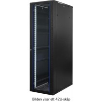 "TOTEN, 19 ""floor cabinet, 32U, 600x1000, glass front door, perforated rear door, max 500 kg/ 19-AS6032GP"