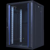 """TOTEN System A, 19 """"floor cabinet, 18U, 600x600, glass front door, perforated rear door, max 500 kg. / 19-AS6618GP"""