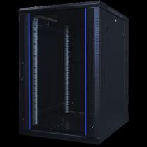 """TOTEN System A, 19 """"floor cabinet, 18U, 600x800, glass door front, metal rear door, max 500 kg. / 19-AS6818GM"""