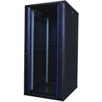 "TOTEN System A, 19 ""floor cabinet, 27U, 600x800, glass front door, perforated rear door, max 500 kg. / 19-AS6827GP"