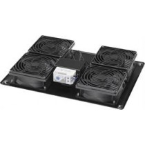 "Fan package with thermostat and 4 fans for 19 ""rack cabinet, IEC 60320 C14 connector, black  / 19-TEFAN1"