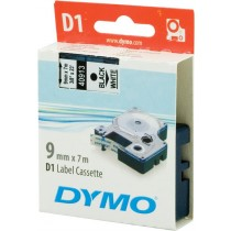 Tape DYMO D1 9mm x 7m, black on white / S0720680 40913