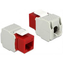"DeLOCK UTP Cat6 Keystone module, RJ45 ho - LSA Cat6, ""Tool-free"", red / gray / 86344"