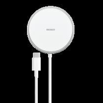 DELTACO magnētiskais bezvadu lādētājs, 15 W, USB-C, balts/sudrabs