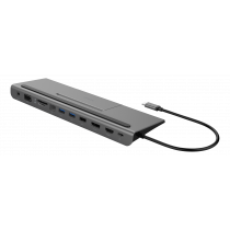DELTACO USB-C dokstacijas stacija DP/HDMI/VGA/SD/RJ45/3,5 PD 3.0 spc pelēka