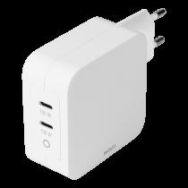 DELTACO USB-C sienas lādētājs, GaN tehnoloģija, 2x USB-C PD, kopā 100 W