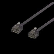 DELTACO U / UTP Cat6a ielāpu kabelis, plakans, 0,15 m, 1 mm biezs, melns