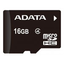 Memory card A-DATA micro SDHC, 16GB, speed class 4, black AUSDH16GCL4-R / ADATA-187