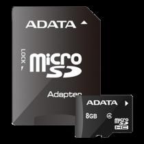 Memory card ADATA MicroSDHC, Class 4, 8GB, incl. adapter, black AUSDH8GCL4-RA1 / ADATA-311