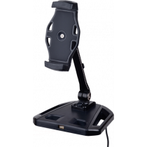 """Smartphone and tablet stand with suction cup, 4""""-12"""", USB extension, 360 degree rotation DELTACOIMP black / ARM-255"""
