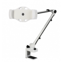 """Smartphone and tablet holder with C-clamp, 4""""-12,2"""", 360 degree rotation DELTACOIMP white / ARM-261"""