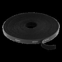 DELTACO Āķis un cilpas stiprinājuma kabeļu saites, platums 9mm, 10m, melna