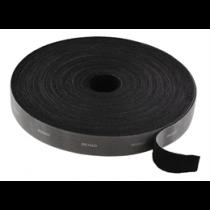 DELTACO Āķa un cilpas stiprinājuma kabeļu saites, platums 20mm, 5m, melna