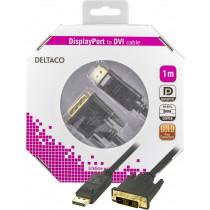 DELTACO DisplayPort - DVI kabelis, 20 kontaktu vīrietis - vīrietis, 1 m, melns