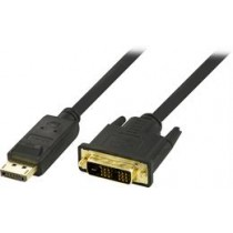 DELTACO DP to DVI-D Single Link Cable, Full HD in 60Hz, 2m, black, 20-pin ha - 18 + 1-pin ha / DP-2020