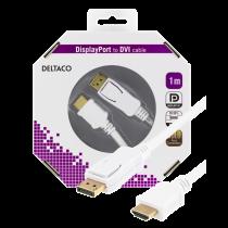 DELTACO DisplayPort - HDMI monitora kabelis, 20 kontaktu m - 19 kontaktu m 1 m, balts