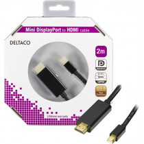 DELTACO mini DisplayPort - HDMI kabelis ar audio, Full HD @ 60Hz, 2m,