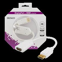 DELTACO DisplayPort uz HDMI 2.0b adapteri, 4K pie 60Hz, 0.1m, balts