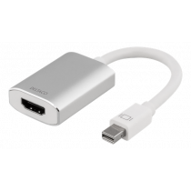 DELTACO mini DisplayPort to HDMI adapter, active, 4K UHD in 60Hz, HDCP 2.2, 3D, 0.2m, silver / white / DP-HDMI38