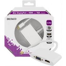 DELTACO mini DisplayPort to HDMI and VGA adapte, white DP-HDMIVGA1-K