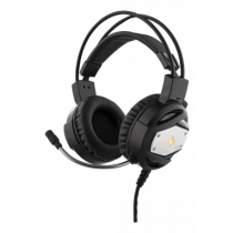 DELTACO GAMING Stereo Gaming Headset with LED Lighting, 50mm Item, Orange LED, Black / Silver / GAM-022