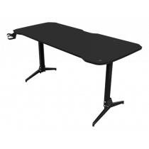 Gaming table DELTACO GAMING metal legs, adjustable height, built-in mouse pad, built-in hanger for headset, black / GAM-095