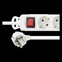 DELTACO kontaktligzda / slēdzis, 6xCEE 7/4, 1xCEE 7/7, 1,5m kabelis, balts