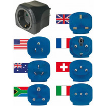 Travel adapter kit Brennenstuhl 7 adapters, grounded, gray / GT-471