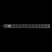 "DELTACO 19 ""PDU ar 12x CEE 7/4 izvadiem, 3500W, barošanas slēdzis, alumini"