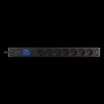 "DELTACO 19 ""PDU ar 7 CEE 7/4 izvadiem, 3500W, ampērmetru un voltmetru,"
