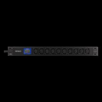 """DELTACO 19 """"PDU ar 10 C13 atverēm, 3500W, ampērmetrs un voltmetrs, al"""