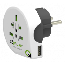 Q2power grounded travel adapter, worldwide to EU (Schuko), 1xUSB port, 10A, white / GT-904