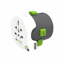 Adapter Q2Power IT / USA / UK / AU / CH / SW / EU, white / GT-923