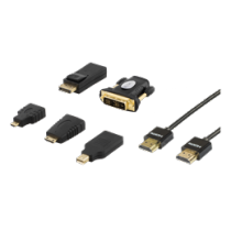 Adapter DELTACO HDMI / DP / DVI kit + HDMI cable 2m, UltraHD, 4K, black / HDMI-251