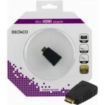 DELTACO HDMI adapter, mini HDMI male to HDMI female, 19 pin, gold plated connectors  HDMI-27-K