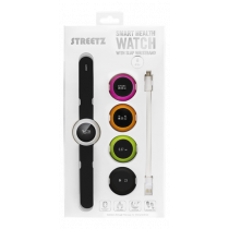 STREETZ Smart Fitness Clock, 44mm, Bluetooth 4.0, Android / iOS, flap bracelet, IPX4, black / white / pink / green / orange HLT-1004