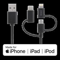DELTACO Universālais uzlādes un sinhronizācijas kabelis, 0,5m, Micro USB, USB-C, Light