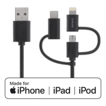 Universal Charge and Sync cable, 1m, Micro USB, USB-C, Lightning DELTACO black / IPLH-155